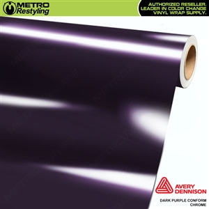 Metro Avery Dennison Gloss Dark Purple Conform Chrome Flexible Vinyl Wrap Film