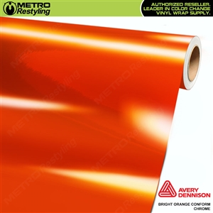 Metro Avery Dennison Gloss Bright Orange Conform Chrome Flexible Vinyl Wrap Film