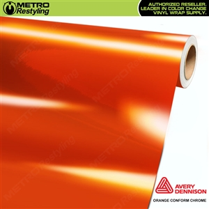 Metro Avery Dennison Gloss Orange Conform Chrome Flexible Vinyl Wrap Film