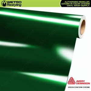 Metro Avery Dennison Gloss Green Conform Chrome Flexible Vinyl Wrap Film