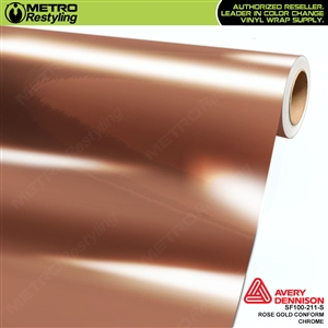 Avery Dennison SF100-211-S Gloss Protected Rose Gold Conform Chrome accent vinyl wrap film gloss laminated.