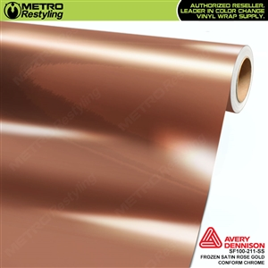 Metro Avery Dennison Frozen Satin Rose Gold Conform Chrome vinyl wrap accent film.