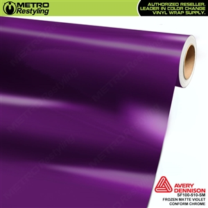 Metro Avery Dennison Frozen Matte Violet Conform Chrome vinyl wrap accent film.