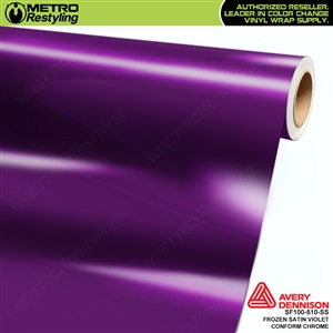 Metro Avery Dennison Frozen Satin Violet Conform Chrome vinyl wrap accent film.