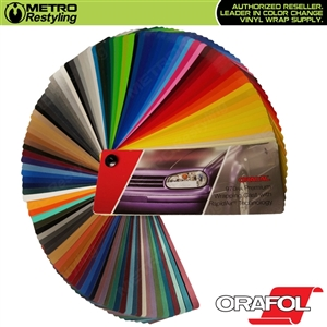 ORACAL Series 970RA Vinyl Car Wrap Film Sample in three sizes: 3in x 5in, 6in x 6in, and 12in x 12in.