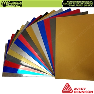 Avery Dennison Chrome and Metro Avery Frozen Chrome Wrap Vinyl Samples