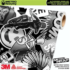 Metro Jumbo Grayscale Sticker Bomb Vinyl Vehicle Wrap Film