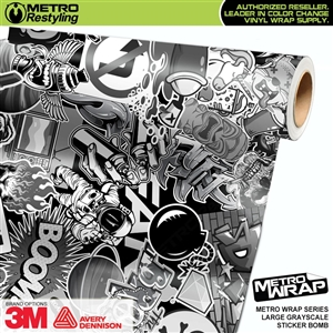 black and white sticker bomb vinyl wrap