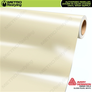 Avery SW900-109-S Gloss White Pearl vinyl wrap film ideal for car wraps.