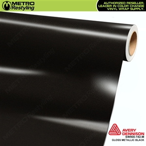 Avery SW900-192-M Gloss Black Metallic vinyl wrap film ideal for car wrapping.