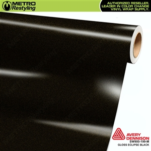 Avery SW900-199-M Gloss Eclipse Black Metallic vinyl wrap film ideal for car wrapping.