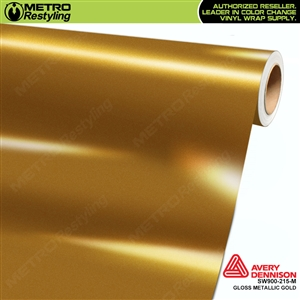 Avery SW900-215-M Gloss Gold Metallic vinyl wrap film ideal for car wrapping.