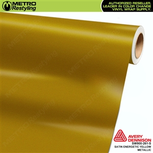 Avery SW900-261-S Satin Energetic Yellow Metallic vinyl wrap film ideal for car wrapping.