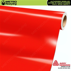Avery SW900-419-M Gloss Spark Red Metallic vinyl wrap film ideal for car wrapping.