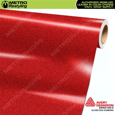 Avery Dennison SW900-426-D Gloss Red Diamond vinyl wrap film ideal for car wraps.