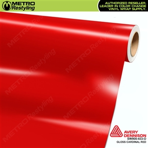 Avery SW900-433-O Gloss Cardinal Red vinyl wrap film ideal for car wraps.