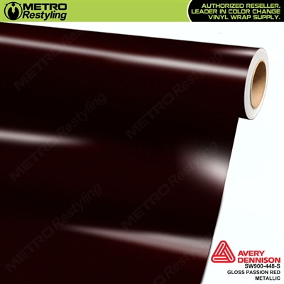 Avery SW900-448-S Gloss Passion Red Metallic vinyl wrap film ideal for car wrapping.