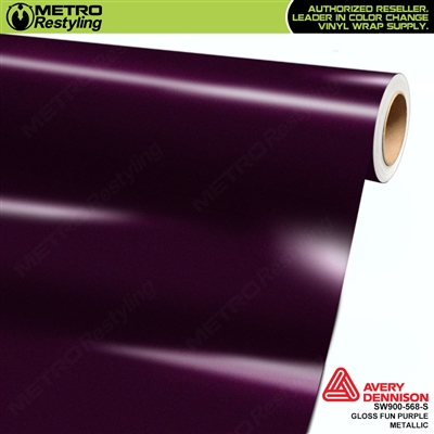 Avery SW900-568-S Gloss Fun Purple Metallic vinyl wrap film ideal for car wrapping.