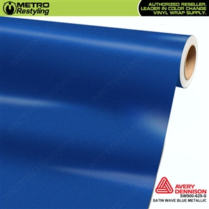 Avery SW900-629-S Satin Wave Blue Metallic vinyl wrap film ideal for car wrapping.