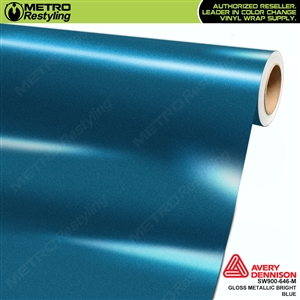 Avery SW900-646-M Gloss Bright Blue Metallic vinyl wrap film ideal for car wrapping.