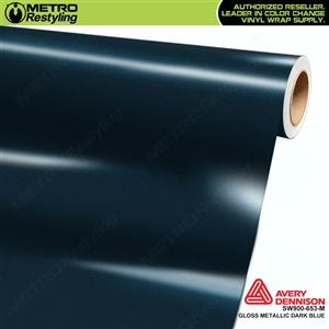 Avery SW900-653-M Gloss Dark Blue Metallic vinyl wrap film ideal for car wrapping.