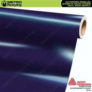 Avery SW900-679-M Gloss Magnetic Burst Blue Metallic vinyl wrap film ideal for car wrapping.