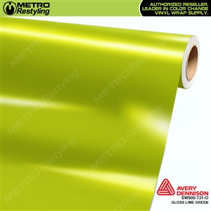 Avery SW900-731-O Gloss Lime Green vinyl wrap film ideal for car wraps.