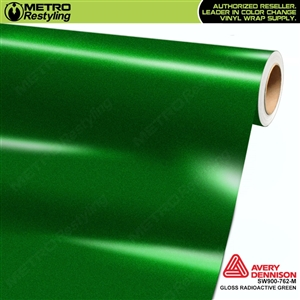 Avery SW900-762-M Gloss Radioactive Green Metallic vinyl wrap film ideal for car wrapping.