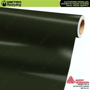 Avery SW900-767-S Satin Hope Green Metallic vinyl wrap film ideal for car wrapping.
