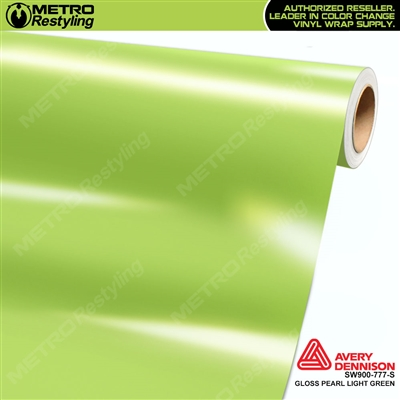 Avery SW900-777-O Gloss Light Green Pearl vinyl wrap film ideal for car wraps.