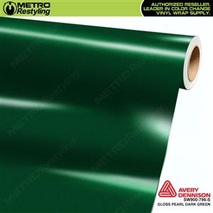 Avery SW900-796-M Gloss Dark Green Pearl Metallic vinyl wrap film ideal for car wrapping.