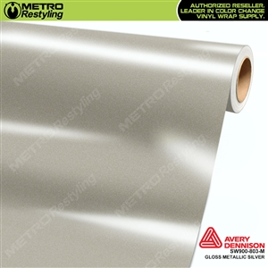 Avery SW900-803-M Gloss Silver Metallic vinyl wrap film ideal for car wrapping.