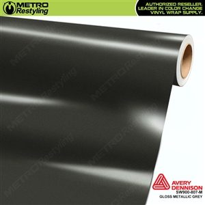 Avery SW900-807-M Gloss Grey Metallic vinyl wrap film ideal for car wrapping.