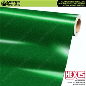 Hexis Gloss Vetiver Green Super Glitter Vinyl Wrap | HX30S010B