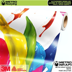 Metro White Paint Splatter Vinyl Vehicle Wrap Film