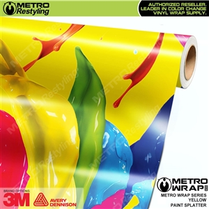 Metro Yellow Paint Splatter Vinyl Vehicle Wrap Film