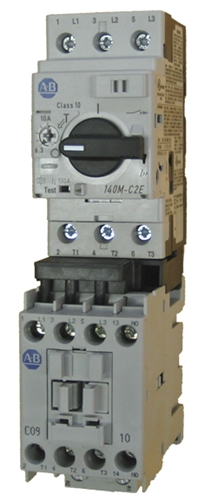 Allen bradley 190e an 2 cb10x 3 pole 9 amp iec starter for Manual motor starter with overload protection