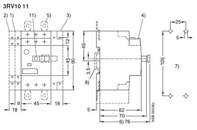Siemens 3RV1011-1GA10 Manual Motor Starter adjustable from