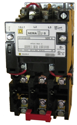 Square D 8536SBO2V01S Size 0 NEMA rated starter with a 24 volt AC coil and  melting alloy thermal overload relayIMC-Direct