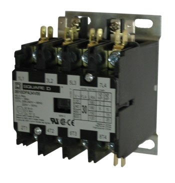 8910DPA34 2 square d 8910dpa34 30 amp 4 pole definite purpose contactor with 3 Phase Contactor Wiring Diagram at aneh.co