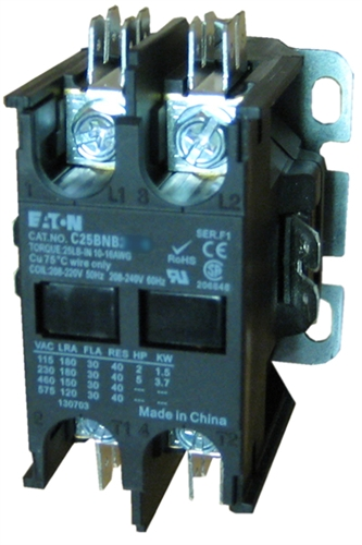 2 pole contactor wiring diagram hvac c25bnb220b eaton definite purpose 2 pole contactor rated at 20  eaton definite purpose 2 pole contactor