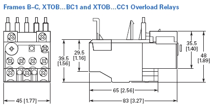 Eaton XTOB016CC1 overload relay adjustable from 10-16 AMPS