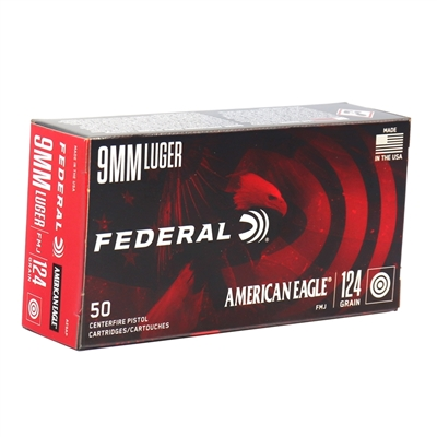 Federal American Eagle 9mm Luger Ammo 124 Grain Full Metal Jacket