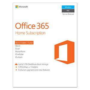 Microsoft Office 365 Home Subscription - 1 Year Exculsive upgrades/features, 5 PC/Mac, 5 Tablet, 5 User, 5 TB OneDrive Cloud Storage -Commercial -WIN/MAC -Box