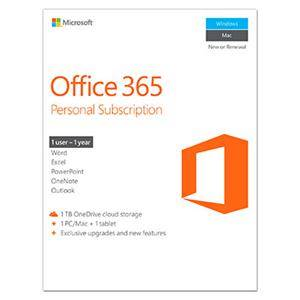 Microsoft Office 365 Personal Subscription - 1 Year, Exclusive Upgrades/Features - 1 TB OneDrive Cloud Storage, 1 Tablet, 1 PC/Mac, 1 User -Commercial -WIN/MAC -Box