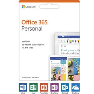 Microsoft Office 365 2019 Personal - Subscription - 1 User - 1 Year - Medialess, Product Key Card (PKC) -Commercial - -Box