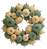 Felted Pumpkin Wreath Blue