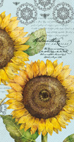 Botanical Sunflower Light Blue Guest Towels