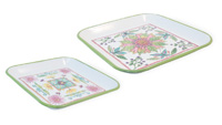Blooming Blossoms Square Tray Set