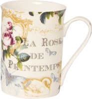 Rose de Printemps Cream Bone China Mug